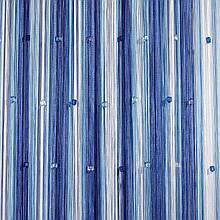 Шторы нити Радуга 3х3м Белый Голубой Электрик с квадратным стеклярусом