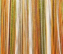 Шторы нити кисея Радуга 3х3м Оранжевый Молочный Бежевый Оливковый без люрекса