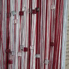 Шторы нити Радуга  3х3м Белый Бордовый Серый с квадратным стеклярусом