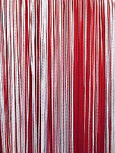 Шторы нити кисея Радуга 3х3м Белый Красный без люрекса