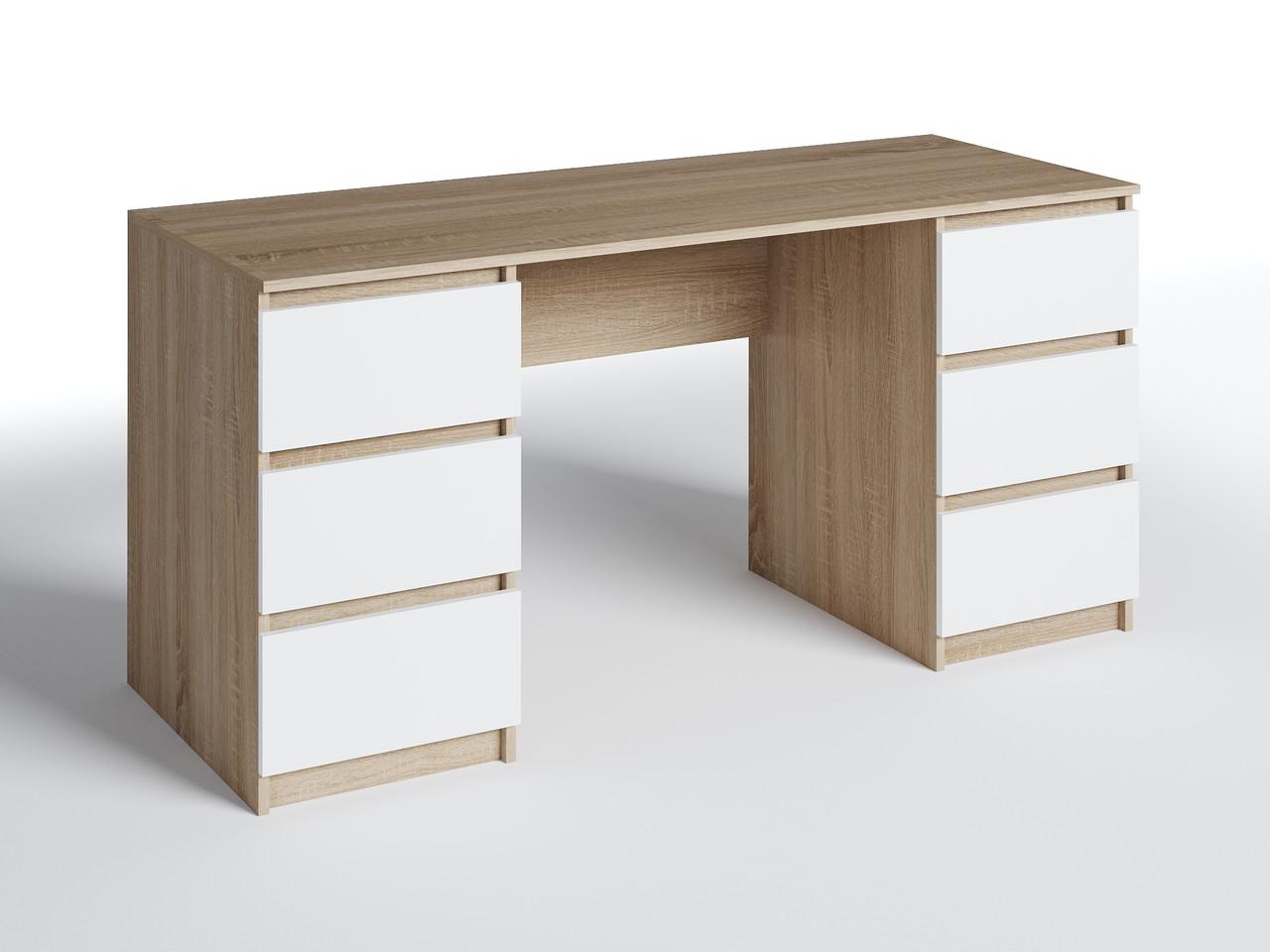 Письмовий стіл СП-6 з 2-тумбами Дуб Сонома/Білий