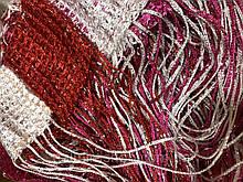 Шторы нити Радуга Дождь 1х2м Белый Красный Малиновый с люрексом