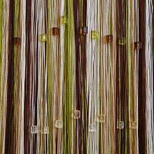Шторы нити Радуга 3х3м Бежевый Шоколадный Бежевый Оливковый с квадратным стеклярусом