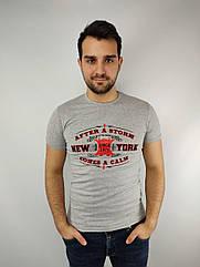 Мужская футболка норма,  46-52рр, надписи, серый