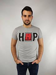 Мужская футболка норма,  46-52рр, надпись, серый
