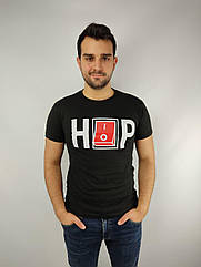 Мужская футболка норма,  46-52рр, надпись, черный