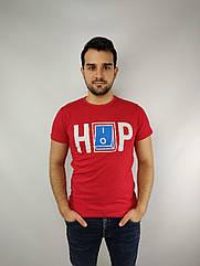 Мужская футболка норма,  46-52рр, надпись, красный