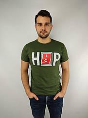 Мужская футболка норма,  46-52рр, надпись, зеленый