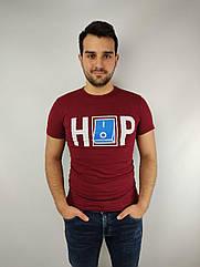 Мужская футболка норма,  46-52рр, надпись, бордовый