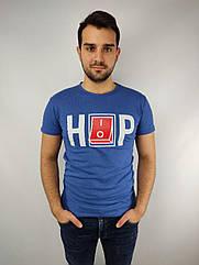 Мужская футболка норма,  46-52рр, надпись, синий