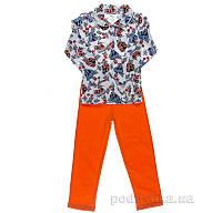 Пижама для мальчика Niso Baby Машинки оранжевая 128