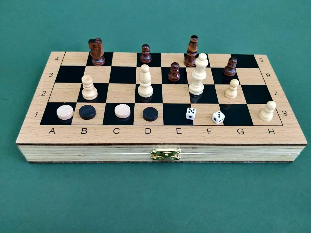 Шахматы 3 в 1 дерево (29.5 Х 29.5 СМ)
