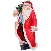Статуетка (фігурка) Дід Мороз з ялинкою 20см колір червоний Новорічний декор для дому