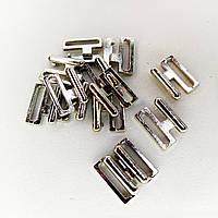 Фурнітура на купальник 1.5 см колір сріблястий нікель. (20 комплектів в упаковці)