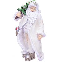 Статуетка (фігурка) Дід Мороз з ялинкою 20см колір белыйНовогодний декор для дому