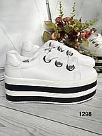 Белые  женские кроссовки ,кеды на полосатой платформе, фото 1