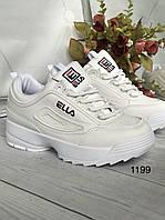 Білі жіночі кросівки на високій підошві, фото 1