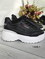Чорні жіночі кросівки на високій підошві з, фото 1