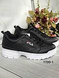 Чорні жіночі кросівки на високій підошві з, фото 2
