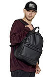 Рюкзак мужской черный городской, повседневный, для ноутбука 15,6 матовая экокожа, фото 2