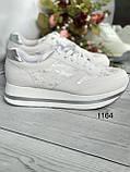 Бежевые  женские кроссовки на платформе, фото 4