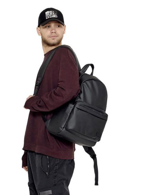 Рюкзак мужской черный городской, повседневный, для ноутбука 15,6 матовая экокожа