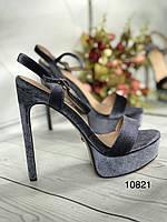 Серые летние босоножки, шпилька каблук, фото 1