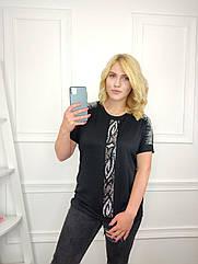 Женская футболка батал, 56-58-60рр, 60-62-64рр, черный, абстракция