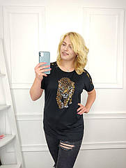 Женская футболка батал, 56-58-60рр, 60-62-64рр, черный, гепард