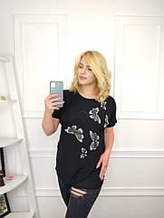 Женская футболка батал, 56-58-60рр, 60-62-64рр, черный, бабочки