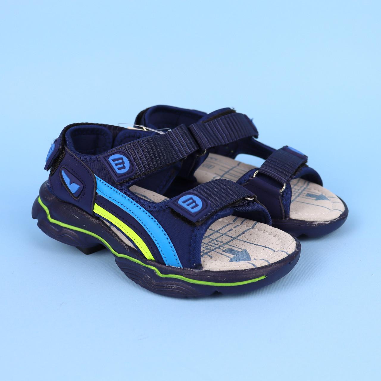 Спортивні сині босоніжки для хлопчика з вогниками тм Тому.м розмір 21,22,23,24,25,26