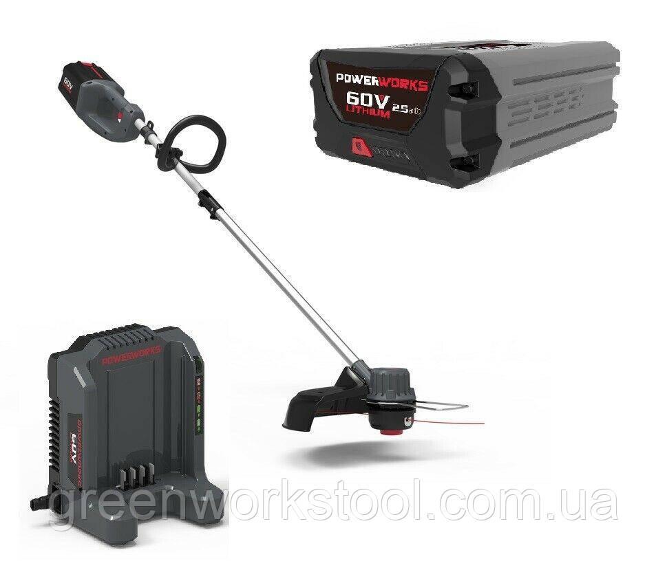 Акция ! Бесщеточный аккумуляторный  триммер PowerWorks  60V (GreenWorks 60 V )  с АКБ 2.5Ah и ЗУ PD60LTK25