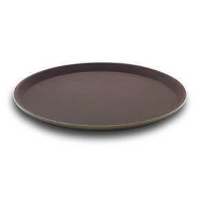 Поднос для официанта из стекловолокна нескользящий коричневый 28 см. круглый Winco