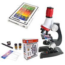 Детский микроскоп для школьника или ребенка Chanseon 1412 1200 Х + 12 биологических образцов 1000, КОД: