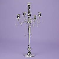 Подсвечник 66 см. на 5 свечей с кристаллами, хром (2 шт.) (2011-015)