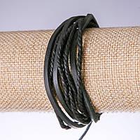 Браслет черная эко кожа на затяжке