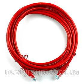 Патч-корд литий RITAR, UTP, RJ45, Cat.5e, 15m, червоний, Cu (мідь)