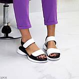 Модельні чорно - білі шкіряні жіночі босоніжки натуральна коду на липучках 36-23см, фото 2