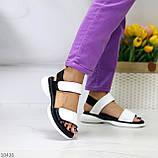 Модельні чорно - білі шкіряні жіночі босоніжки натуральна коду на липучках 36-23см, фото 3
