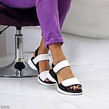 Модельні чорно - білі шкіряні жіночі босоніжки натуральна коду на липучках 36-23см, фото 4