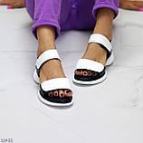 Модельні чорно - білі шкіряні жіночі босоніжки натуральна коду на липучках 36-23см, фото 5