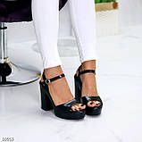 Черные женские босоножки на шлейке на высоком устойчивом каблуке, фото 6