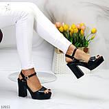 Черные женские босоножки на шлейке на высоком устойчивом каблуке, фото 7