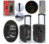 Портативная колонка SDJ 0810 Bluetooth, микрофон, свет, пульт.