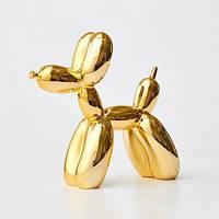 Статуэтка Собачка из шарика золотая. Фигурка для интерьера Собака из шарика колбаски 10*10*4 см. Декор Jeff