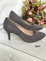 Замшеві туфлі жіночі сірі, фото 1