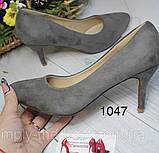 Замшеві туфлі жіночі сірі, фото 3