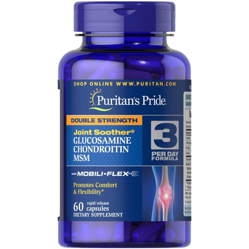 Для суглобів і зв'язок Puritan's Pride Double Strength Chondroitin Glucosamine MSM 60 капсул