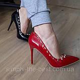 Туфлі жіночі класичні  червоні, фото 3