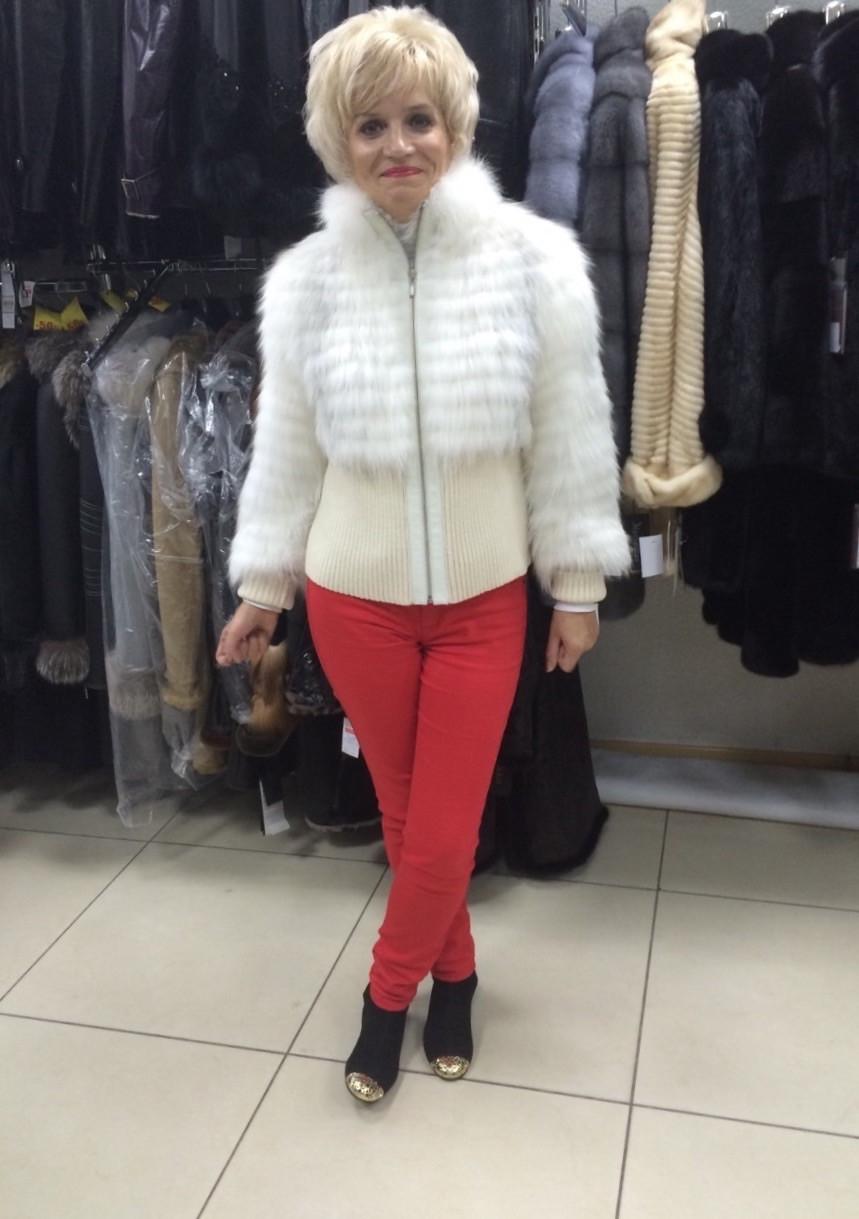 """Жакет вязка песец на шелке белый  - Интернет-магазин """"Perspective"""" в Запорожье"""